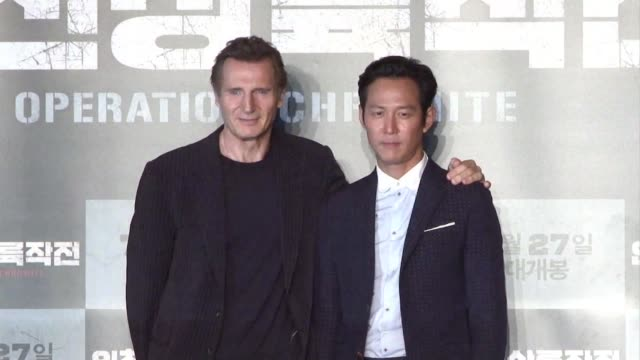 irish actor liam neeson promotes his new korean film operation chromite in which he plays general douglas macarthur during the korean war - douglas macarthur stock videos and b-roll footage