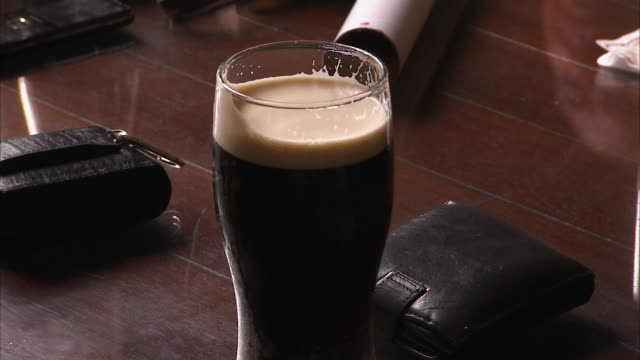 irish coffee with foam - coffee drink stock videos & royalty-free footage