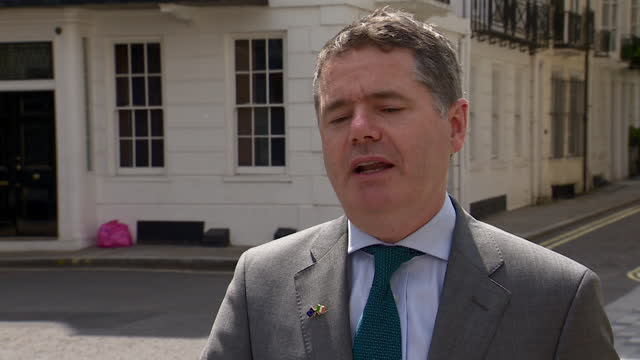"""irish finance minister paschal donohoe saying ireland will have policies to """"deliver a competitive approach"""" despite the international tax rate being... - global business stock videos & royalty-free footage"""
