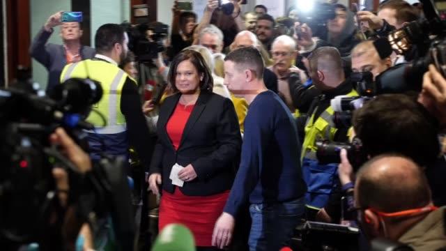sinn fein makes major gains ireland dublin photography *** mary lou mcdonald along surrounded by media / speaking to press - sinn fein stock videos & royalty-free footage