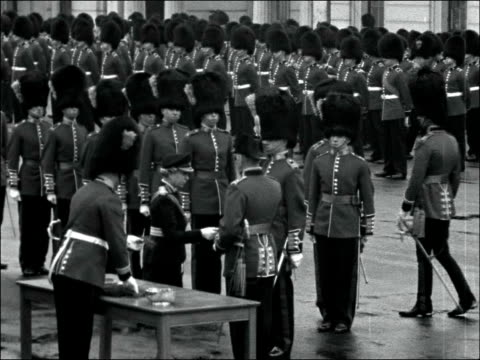 irish guards princess royal attends st patrick's day parade **please note sound is variable throughout mute fx ** england wellington barracks bird... - tunic stock videos & royalty-free footage