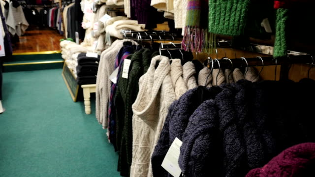 irish handcraft knitwear clothes from arann islands - pullover stock videos & royalty-free footage
