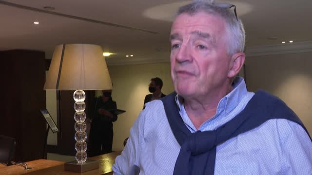 """irish low-cost carrier ryanair returned to profit in july thanks to a strong summer holiday season, but expects a """"difficult"""" winter, boss michael... - report produced segment stock videos & royalty-free footage"""