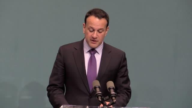 irish premier leo varadkar addresses the media in dublin following his meeting with eu chief brexit negotiator michel barnier - conceptual symbol stock videos and b-roll footage