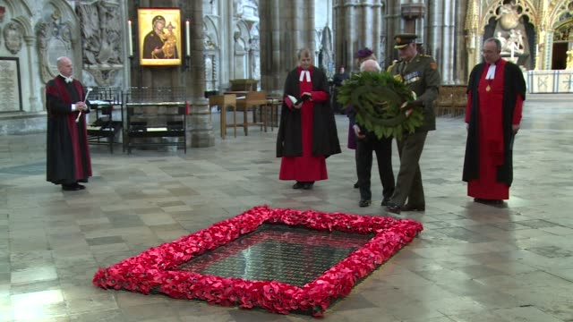 irish president michael d higgins laid a wreath at the grave of the unknown warrior in westminster abbey tuesday after he was welcomed to britain by... - michael d. higgins stock videos and b-roll footage
