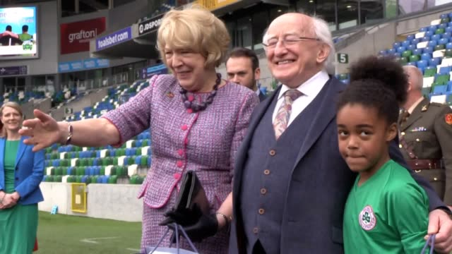 irish president michael d higgins visits the irish football association at northern ireland's national stadium at windsor park in belfast with his... - michael d. higgins stock videos and b-roll footage