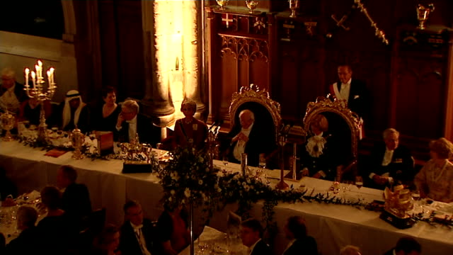 guildhall banquet prayers / national anthem / toast / lord mayor of the city of london fiona woolf speech sot / irish national anthem / toast - lord mayor of london city of london stock videos & royalty-free footage