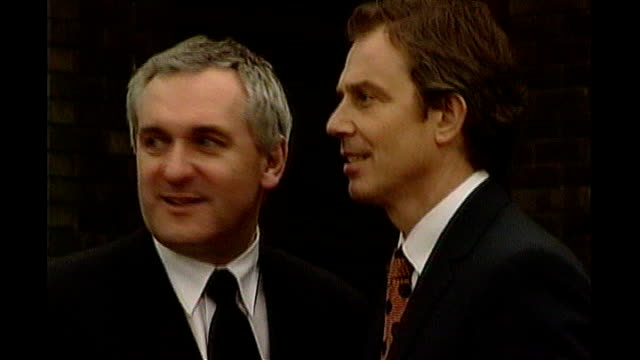 irish prime minister bertie ahern announces resignation tx int tony blair and bertie ahern shake hands at time of good friday agreement bertie ahern... - friday stock videos & royalty-free footage