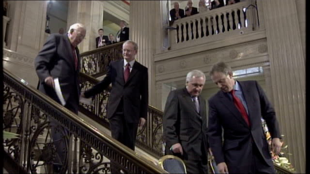 irish prime minister bertie ahern announces resignation tx 8507 belfast stormont int reverend ian paisley mla democratic uunionist party leader of... - martin mcguinness stock videos and b-roll footage