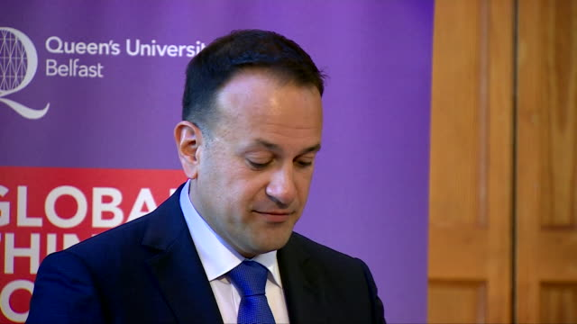 irish prime minister leo varadkar criticising the british government for not coming up with adequate proposals for brexit and that he would like to... - leo varadkar stock videos and b-roll footage