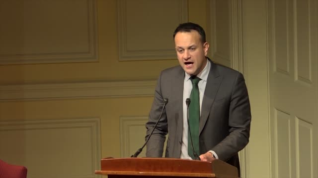 irish prime minister leo varadkar speaks at a public form on the at the library of congress on the 20th anniversary of the good friday agreement... - leo varadkar stock videos and b-roll footage