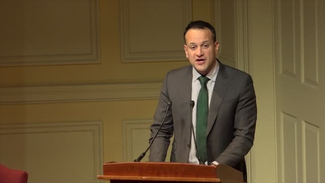 Irish Prime Minister Leo Varadkar speaks at a public forum at the Library of Congress on the 20th anniversary of the Good Friday agreement telling...