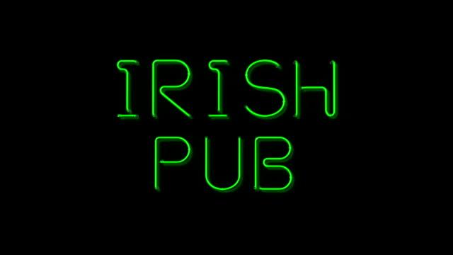 Irish Pub flashing Neon sign
