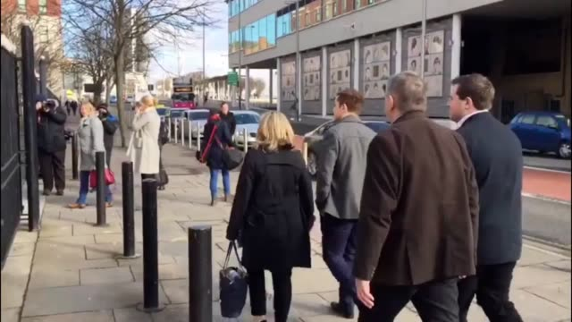 Irish rugby international players Paddy Jackson Stuart Olding Blane McIlroy and Rory Harrison arrive at Belfast Crown Court on the 28th day of this...