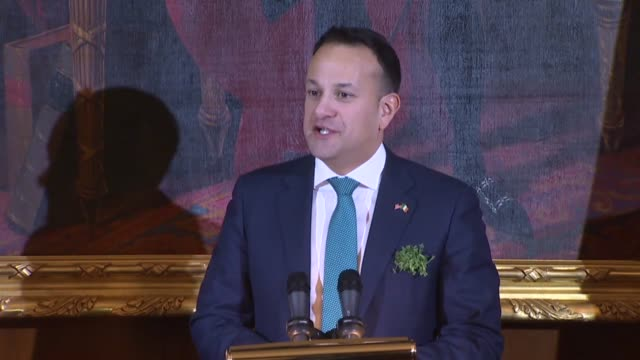irish taoiseach leo varadkar begins remarks at the 2018 friends of ireland luncheon with a gaelic greeting thinking speaker paul ryan for the kind... - leo varadkar stock videos and b-roll footage
