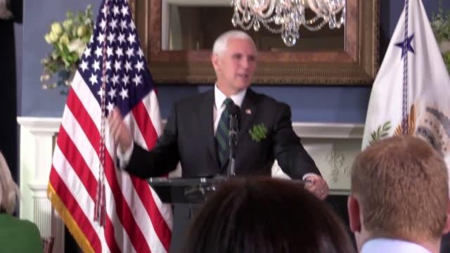 Irish Taoiseach Leo Varadkar is welcomed by Vice President Mike Pence in Washington DC