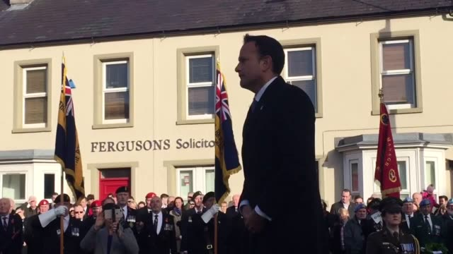 irish taoiseach leo varadkar laid a green laurel wreath at the cenotaph at enniskillen in co fermanagh it is 30 years since an ira bombing there... - leo varadkar stock videos and b-roll footage