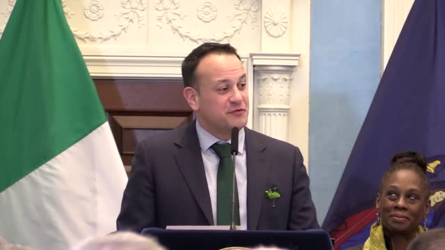 Irish Taoiseach Leo Varadkar meets with New Mayor Bill de Blasio and former Sinn Fein leader Gerry Adams at a ceremony celebrating St Patrick's Day...