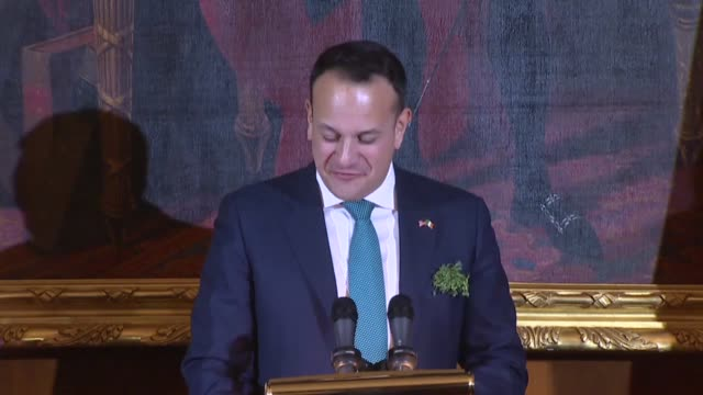 irish taoiseach leo varadkar thanks host speaker paul ryan for the 2018 friends of irish luncheon joking of his village in county kilkenny noting a... - leo varadkar stock videos and b-roll footage