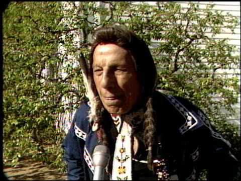 iron eyes cody at the funeral for forrest tucker at forest lawn in hollywood hills, california on july 1, 1986. - tucker stock videos & royalty-free footage