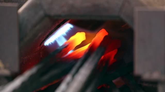Iron forge closeup in a blacksmith.