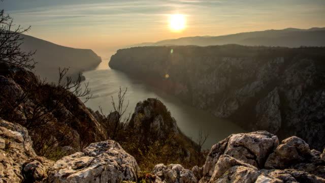 iron gate danube sunset timelapse - river danube stock videos & royalty-free footage