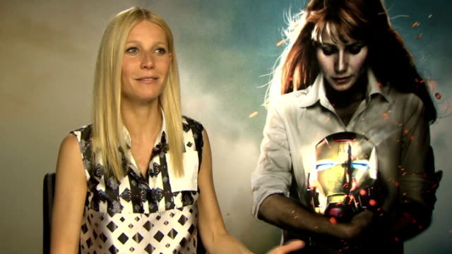 'iron man 3' film release gwyneth paltrow interview england london int gwyneth paltrow interview sot on her 'abs' being the star of the film on what... - gwyneth paltrow stock videos and b-roll footage
