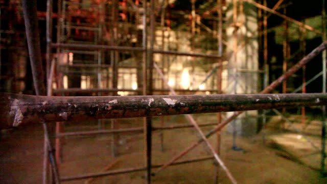 iron scaffold inside the construction site