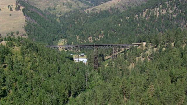 Ferro armação Ponte ferroviária junto-Missoula Vista aérea-Montana, Condado de Missoula, Estados Unidos