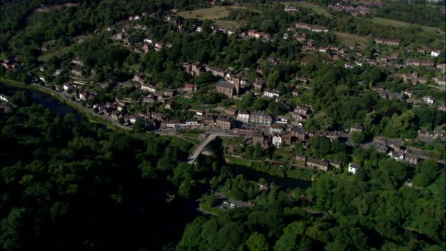 ironbridge  - aerial view - england, telford and wrekin, the gorge, united kingdom - ironbridge shropshire stock videos & royalty-free footage