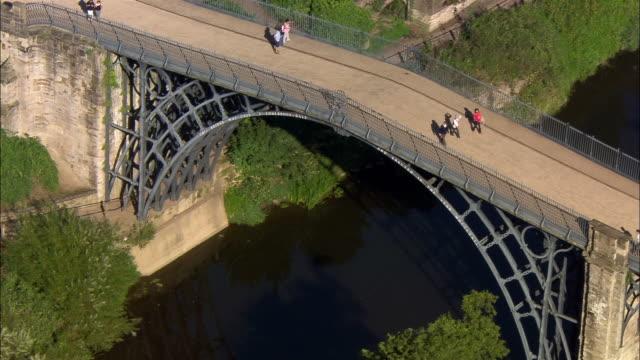low aerial, ironbridge george, shropshire, england - ironbridge shropshire stock videos & royalty-free footage