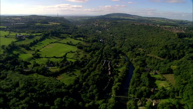 ironbridge gorge and river severn  - aerial view - england, telford and wrekin, the gorge, united kingdom - ironbridge shropshire stock videos & royalty-free footage