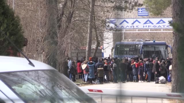 irregular migrants planning to cross into greece on friday flocked to northwestern turkey following an airstrike by forces of the bashar alassad... - syria stock videos & royalty-free footage