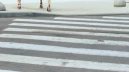 Irresponsible driver run over girls on pedestrian crossing, traffic violation