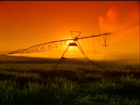 ORANGE irrigation system in field at sunset / near Alamosa, Colorado