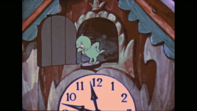 1941 irritated cuckoo clock bird cleans house - cuckoo stock videos and b-roll footage