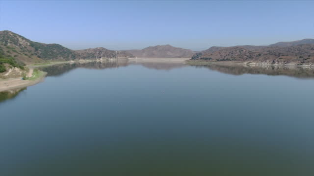 ktla irvine ca us aerial view of irvine lake on monday aug 19 2019 - irvine california stock videos & royalty-free footage