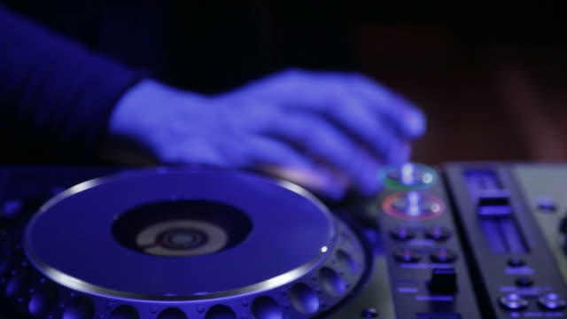 dj is playing music on a festival - hands close up - record player stock videos & royalty-free footage