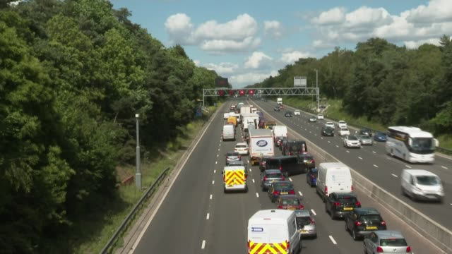 is worst road for breakdowns in england; england: greater london: m25 ext various shots of traffic stopped on motorway driver's point of view dashcam... - m25 video stock e b–roll