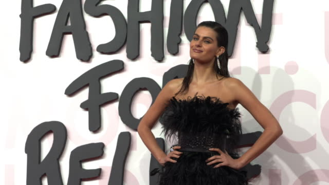 isabeli fontana at fashion for relief fashion catwalk - the 71st cannes fillm festival at aeroport cannes mandelieu on may 13, 2018 in cannes, france. - カンヌ・マンデリュー空港点の映像素材/bロール