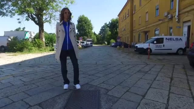 isabella charlotta poppius wearing blue runway burberry track top with tailored trousers and white sneakers during milan men's fashion week ss17 on... - men's track stock videos and b-roll footage