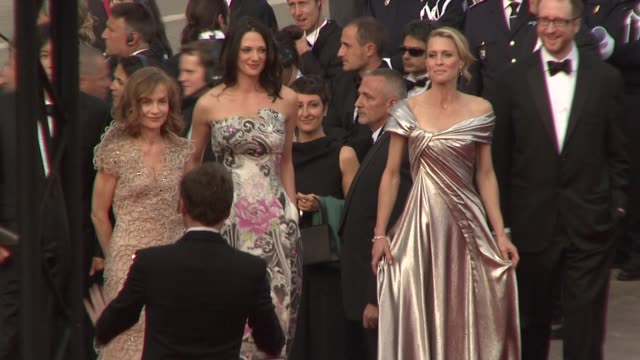 isabelle huppert asia argento robin wright penn james gray at the cannes film festival 2009 opening night/up steps at cannes - robin wright stock videos & royalty-free footage