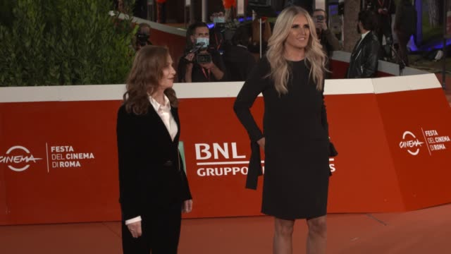 """isabelle huppert, tiziana rocca attend the red carpet of the movie """"le discours"""" during the 15th rome film festival on october 19, 2020 in rome,... - rome film festival stock videos & royalty-free footage"""