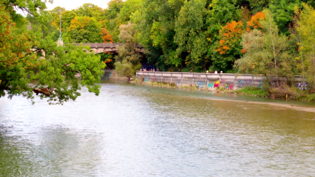 isar münchen herbst - riverbank stock videos and b-roll footage