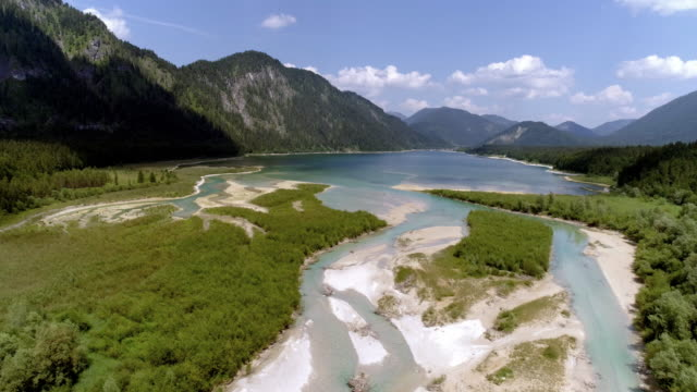 isar river and sylvenstein reservoir in upper bavaria - mountain range stock videos & royalty-free footage