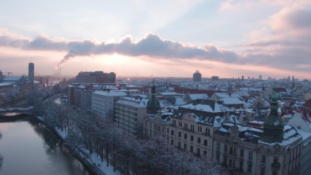 isarkanal, munich, winter, sunset - winter stock-videos und b-roll-filmmaterial