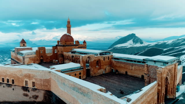 ishak pasha palace - snowy mount ararat - drone shot - minaret stock videos & royalty-free footage