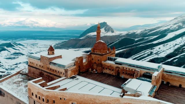 ishak pasha palace - snowy mount ararat - drone shot - madressa stock videos and b-roll footage