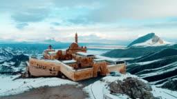 Ishak Pasha Palace - Snowy Mount Ararat - Drone Shot