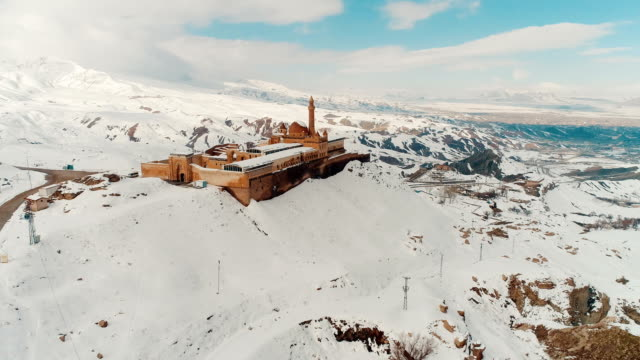 ishak pasha palace - snowy mount ararat - drone shot - madressa stock videos and b-roll footage